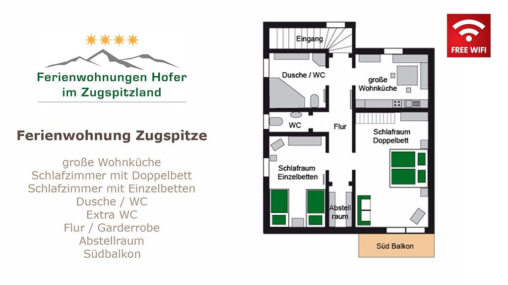 Ferienwohnung Zugspitze Raumaufteilung